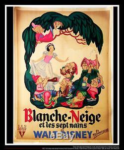 SNOW WHITE RKO B Walt Disney 4x6 ft On Linen French Grande Original Poster 1937
