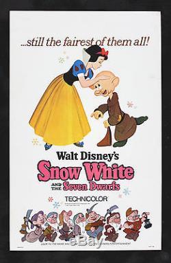 SNOW WHITE & SEVEN DWARFS CineMasterpieces ORIGINAL MOVIE POSTER DISNEY 1967R