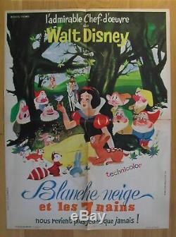SNOW WHITE & THE SEVEN DWARFS walt disney original french movie poster R62