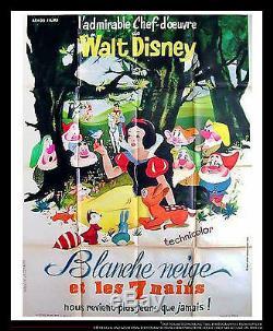 SNOW WHITE Walt Disney 4x6 ft Vintage French Grande Movie Poster ReRelease 1962