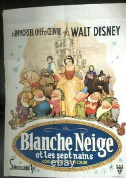 SNOWWHITE AND THE SEVEN DWARFS Very Rare Belgian Movie Poster / Walt Disney