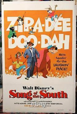 SONG OF THE SOUTH Original 1980 Reissue DISNEY LINEN MOUNTED Movie Poster 27X41
