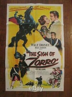 Sign Of Zorro Original 1sheet Movie Poster -Guy Williams -Walt Disney