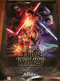Star Wars The Force Awakens Movie Poster CAST SIGNED Premiere Autograph Disney