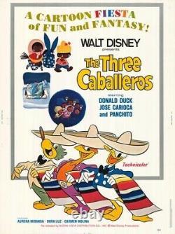 THE THREE CABALLEROS original ROLLED 30x40 DISNEY movie poster DONALD DUCK