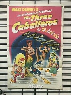 Three Caballeros Original One Sheet Poster 1944 Walt Disney Donald Duck