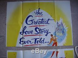 US 3sheet WD movie poster 41x82 CINDRELLA Three Sheets Walt Disney Film R57 NM