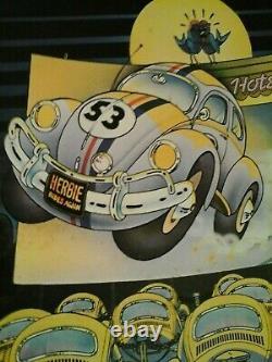 VERY RARE Vintage 1970's Herbie Rides Again Movie Poster Walt Disney Poster