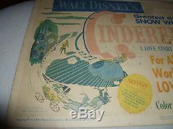Vintage 1950 Walt Disney Cinderella Lobby Card Poster Rko Radio Rare Original