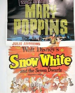 Vintage 1964 Disney Orginal Poster Lot Mary Poppins and Snow White 27x41 EXTRAS