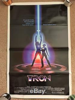 Vintage 1982 TRON Original Folded Movie Poster Disney Sci-Fi Jeff Bridges