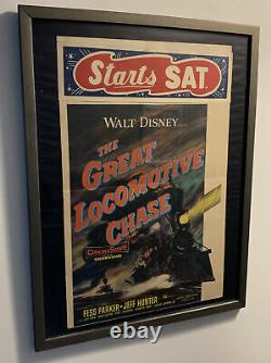 Vintage Walt Disneys The Great Locomotive Chase Theatre Poster Framed Unique