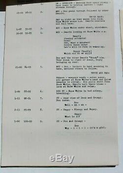 Vtg 1938 Walt Disney SNOW WHITE AND THE SEVEN DWARFS Continuity Movie Script