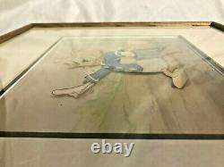 Vtg Framed & Matted Donald Duck Film Cell Movie Tv Memorabilia Disney