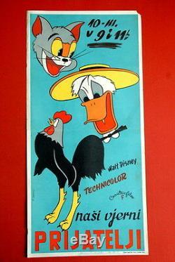 Walt Disney 1956 Original Extra Rare Exyu Movie Poster Donald Duck Etc