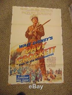 Walt Disney Fess Parker Davy Crockett Original 27x41 Poster #L9590