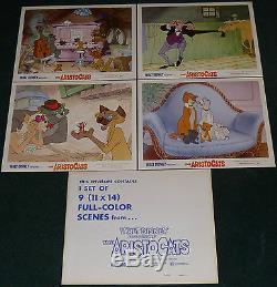 Walt Disney The Aristocats Original R 1973 Lobby Card Set Of 9