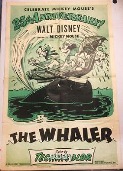 Whaler! R'53 Mickey Mouse, Walt Disney Cartoon Original U. S. Os Film Poster