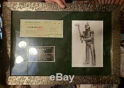 Wizard Of Oz Jack Haley Signed Check With Matted Display From Disney World