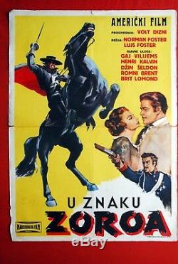 Zorro Avanger Walt Disney 1959 Guy Williams Rare Exyu Movie Poster
