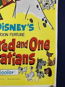 101 Dalmatiens Sur Linen Orig Affiche De Cinéma Une Feuille 1961 Walt Disney Caricature