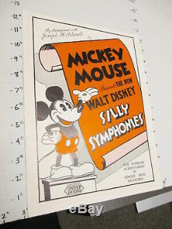 1933 Idiot Disney Symphony Arche De Noé Dessin Animé Mickey Mouse Pressbook United Art
