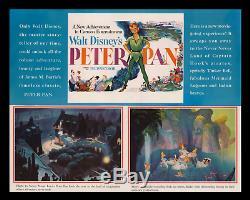 1952 Peter Pan Rolled Disney Transit 1-sh Affiche Du Film Advance Seulement Connu Orig