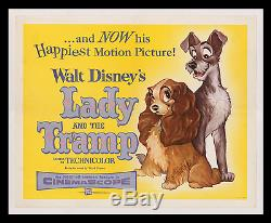 1955 La Dame Walt Disney Et Le Clochard Affiche De Cinéma Haut Musée Sur Lin