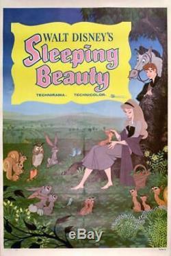 1959 Originale Sortie 27x41 Poster Une Feuille De Couchage Disney Beauty Sur Toile De Lin
