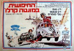 1977 Israel Disney Film Film Poster Hébreu Herbie Goes To Monte Carlo Jewish Vr