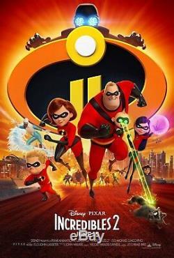 2 Incroyables Pixar Disney 27x40 Double Face Poster Theatrical (authentique) Nouveau