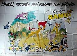 70's Rr Bambi Walt Disney Animation Billboard Français 13x10 Pieds Affiche Du Film