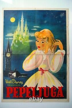Affiche De Cinéma Cendrillon Walt Disney 1950 Art Unique Rare Vintage Exyu