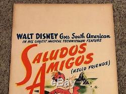 Affiche De Film Originale Pour Cartes De Fenêtre Saludos Amigos De 1943, Disney, 14x22