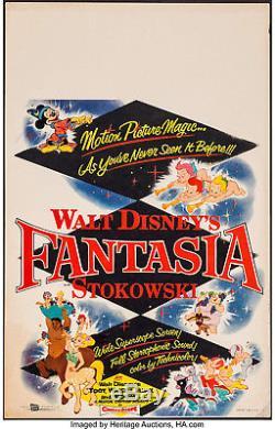 Affiche Du Film Fantasia 1956 (1940) Carte De Fenêtre 14x22 Vf-7 Walt Disney