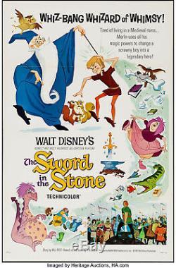 Affiche Du Film L'épée Dans La Pierre 1963 27x41 Vf + 8.5 Style Walt Disney A
