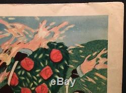 Alice Au Pays Des Merveilles Original 1951 - Carte Du Lobby Disney Peignant Les Roses