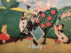 Alice Au Pays Des Merveilles Original 1951 Lobby Card Disney Peindre Les Roses Rouge