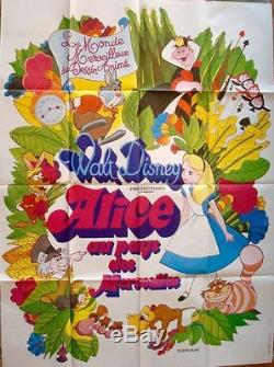 Alice In Wonderland Affiche Du Film French Grande 47x63 Walt Disney R74 Nm