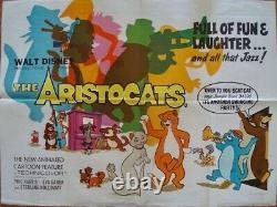 Aristocats British Quad Affiche De Film Walt Disney Vintage 1970 30x40 Rare