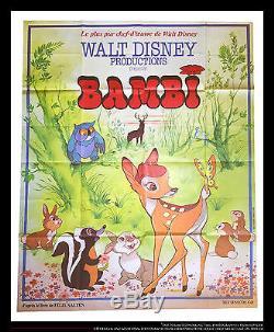 Bambi Walt Disney 4x6 Ft Affiche De Cinéma Vintage Française Grande, Rerelease 1978