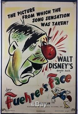 Der Fuehrer Affiche Du Film Leurrons Un Sheet'42 Walt Disney Donald Duck Nazi Seconde Guerre Mondiale