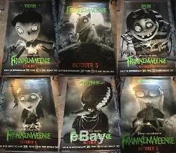 Disney Frankenweenie 3 Ds Us Bannières Lobby Vinyle Affiche 5x8 Complete Set