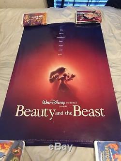 Disney La Belle Et La Bête (1991) Rare Original Doublesided Affiche De Film 27 X 40
