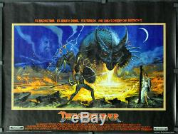 Dragonslayer 1981 Orig Affiche Film Quadrillée En Fils Quadrés 40 Peter Macnicole