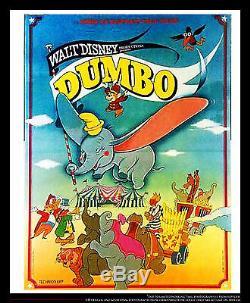 Dumbo B Walt Disney 4x6 Ft Vintage Français Grande Original Film Rerelease 1970