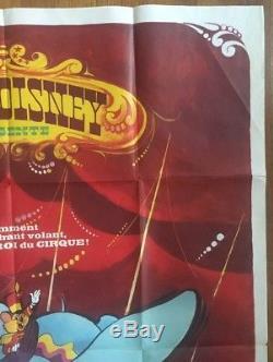 Dumbo Original Affiche Vintage Walt Disney Cinéma Promo Pin-up Français 1970