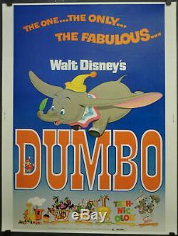 Dumbo Originale Rolled 30x40 Affiche Du Film 1976 Walt Disney Elephant R-76