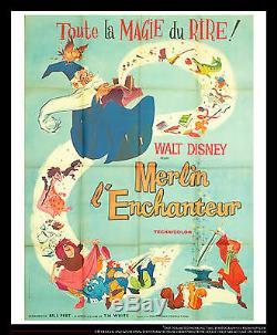 L'épée Et La Pierre Walt Disney 4x6 Pieds Vintage Français Grande Poster 1963