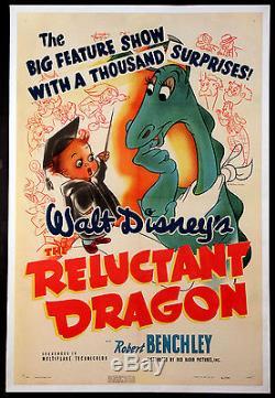 Le Dragon Réticent Robert Benchley Rare Disney 1941 1 Feuille